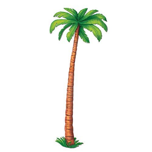 Beistle Jointed Palm Tree Cut Out Luau Party Decorations, 6', Brown/Green
