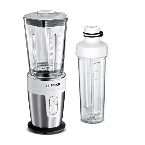 Bosch MMBM7G2M Mini-Standmixer (2Go-Flaschen, Glas-Mixbehälter, 2 Geschwindigkeitsstufen, 350 Watt) schwarz/silber