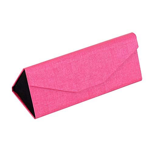 Caja Protectora Plegable Caja de los vidrios de Sol del Cuero del sostenedor sólido de Color Gafas de Sol Gafas Titular de la joyería de Cuero, Rojo de Rose