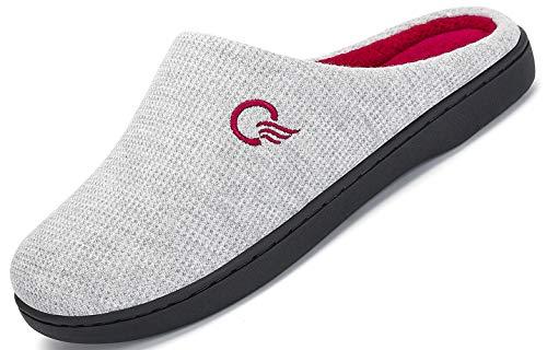 Mishansha Unisex Winter Warm Memory Foam Hausschuhe Drinnen Pantoffeln für Indoor & Outdoor Grau C 38/39 EU (270)