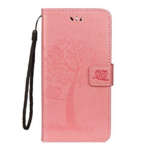 JOMA-E Shop - Custodia folio in pelle di eccellente qualità per Huawei Honor 7A/Y6 2018,cover protettiva con copertina rigida, portacarte e chiusura magnetica, motivo in rilievo: albero rosa