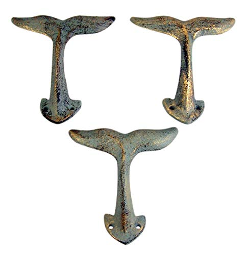 Home Originality Whale Tail Cast Iron Wall Hook 4 3/8 Inch (Set...
