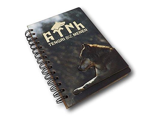 Gök-Türk Handgemaakte notitieboek 'Tengri Biz Menen' Wolf Bozkurt - bladeren voor notities en tekenen - bruin