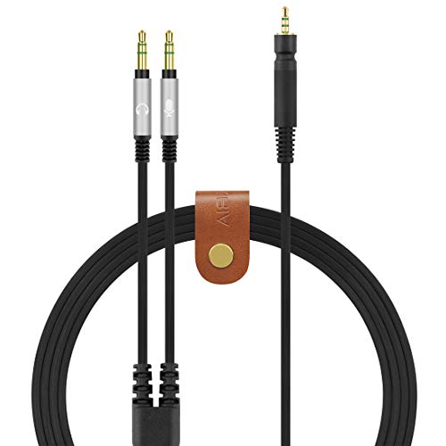 Geekria QuickFit Cable de audio compatible con Sennheíser Game ONE, Game Zero, PC 373D, GSP 350, GSP 500, GSP 600, cable repuesto divisor en Y de 3,5 mm, cable auriculares para juegos (negro 5,6 pies)