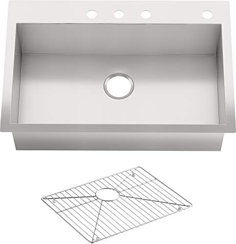 "KOHLER Vault 33"" Single Bowl 18 Gauge Stainless Steel Kitchen Sink with Four Faucet Holes K-3821-4-NA Drop-in or Undermount Installation, 9 Inch Bowl"