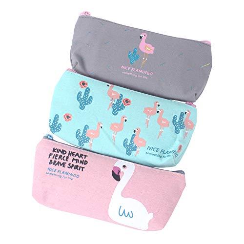 Z ZICOME Flamingo Cactus Canvas Pencil Cases Purse Pouches, 3 Pack