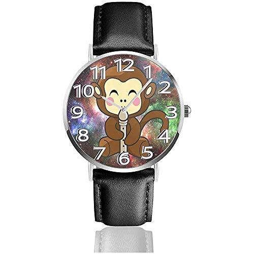 Flauto di scimmia colorato Galaxy Orologi durevoli PU orologio da polso in pelle al quarzo come regalo di compleanno