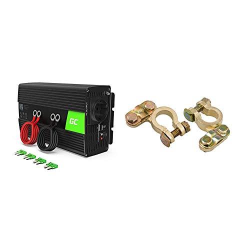 Green Cell®1000W/2000W 12V auf 230V Reiner Sinus Volt kfz Spannungswandler Wechselrichter Konverter Pure Sine Wave Power Solar Inverter DC AC Umwandler & HP Autozubehör 20221 Batterie-Polklemmen-Set