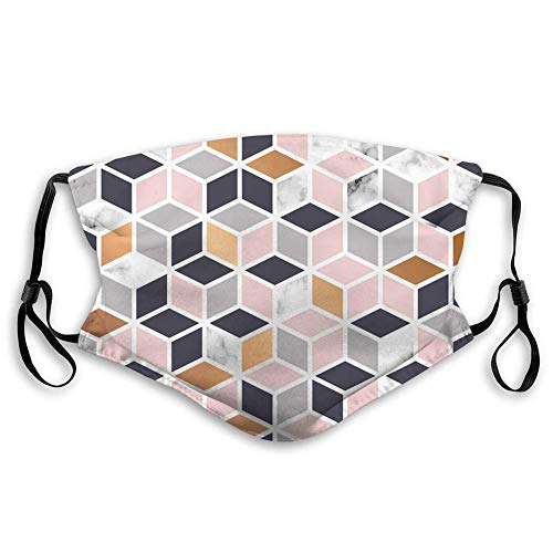 Marble Texture Design with Cubes Mouth Face Shield Anti Breathable Filter Dust Absorb Sweat Washable Reusable Masks for Cycling Camping Ski Travel Outdoor