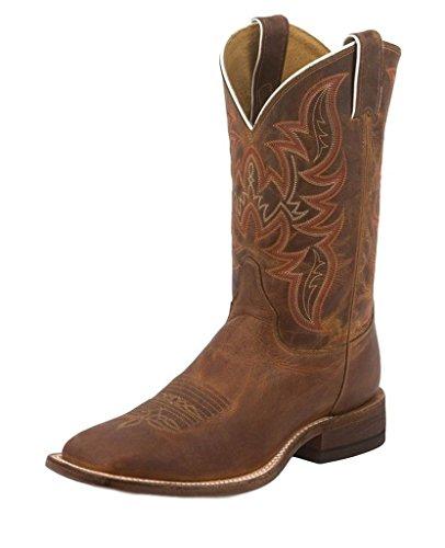 Justin Men's Bent Rail Distressed Cognac Cowboy Boot Square Toe Brown 14 D(M) US