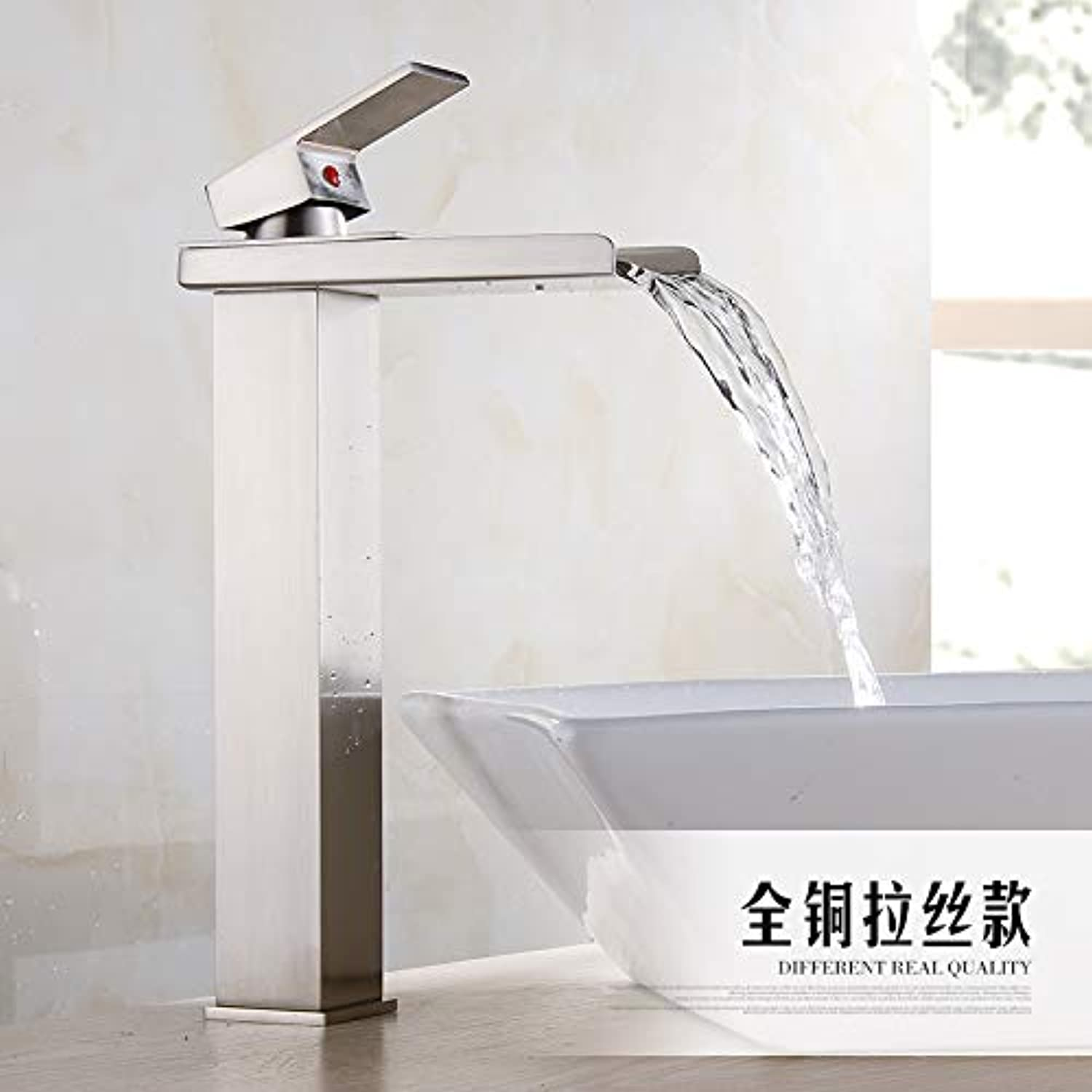 LHbox Basin Mixer Tap Bathroom Sink Faucet The copper surface basin faucet hot and cold water basin wash basin mixer bathroom faucet waterfall faucet with high,2016 brushed plus high)