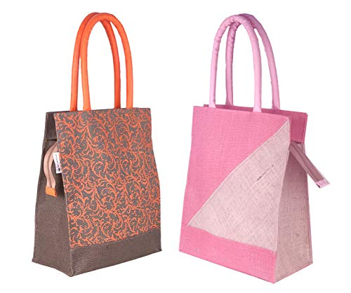Foonty Daily Use Jute Grey Lunch Bags for Men/Women (Pack of 2)