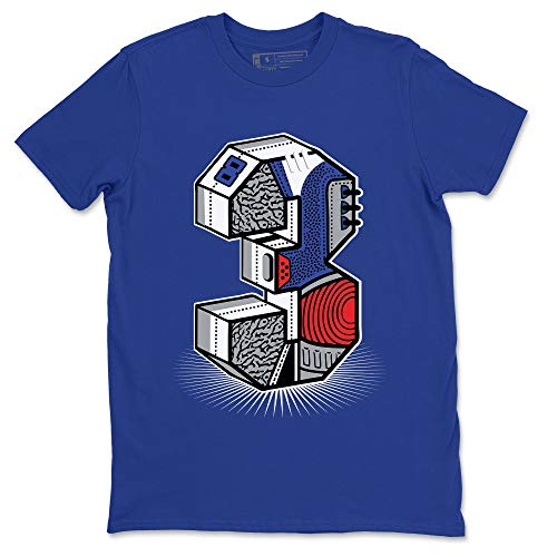 Three Statue Royal Blue T-Shirt Jordan 3 True Blue Shoe Outfit - AJ3 Match Top (Royal Blue/X-Large)
