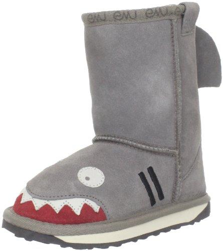 MUK LUKS Boys Kid's Finn Shark Boots Fashion, Grey, 9 M US Little