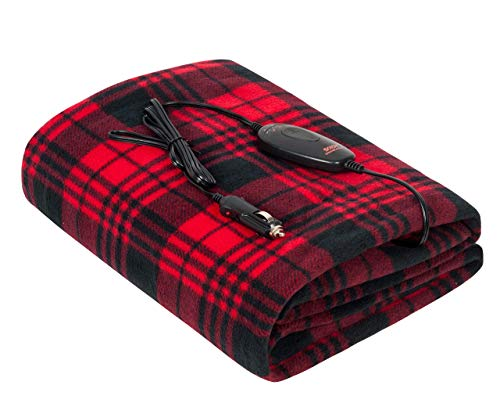 Heated Blanket, Sojoy Electric Blanket Throw 40'x60', 3 Fast Heating Levels,30'/45'/60' Min Auto Off, UL Certification, Overheating Protection, Fleece Heating Blanket (Black and Burgundy)