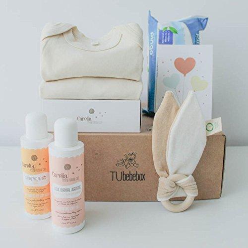 Canastilla ecológica recién nacido - Incluye body y pijama 100% algodón orgánico, mordedor de madera natural y cosméticos bebé naturales