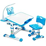 S SMAUTOP Children Desk and Chair Set, Adjustable Children's Study Desk and Chair with Tilting Table Top,Bookshelf, Metal Hook and Storage Drawer 80 cm Wide (Blue)