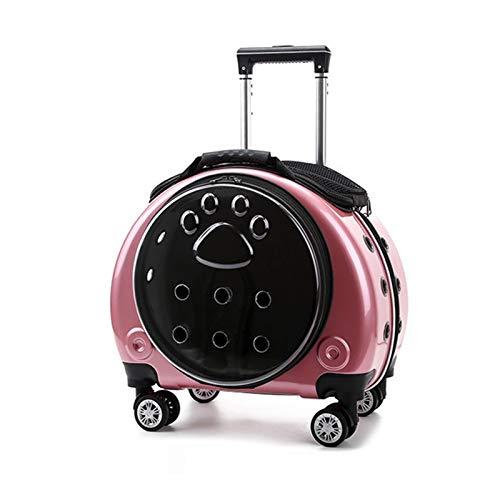 KHUY Trasportino Gatto/Cani, Trasportino Elegante Pet Rotolante Portapacchettatore con Trasportino Gatto Zaino Viaggio, Trasportino Gatto Trolley con Ruote e Sfiato a 360 ° (Color : Pink)