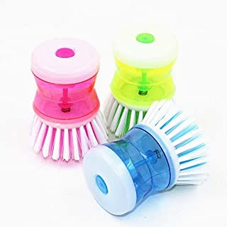 Kitchen brush with soap dispenser, plastic bottle, dishwashing brush, household cleaning product, kitchen cleaning tool AW...