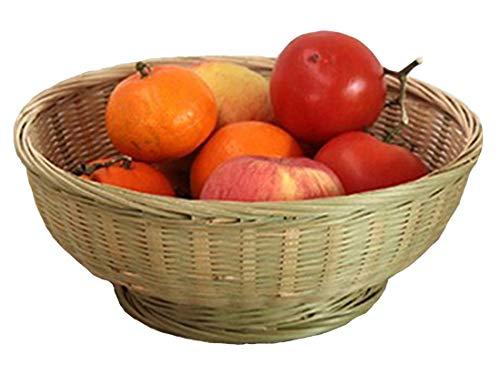 PENGQIMM Cesta de bambú tejida a mano, cesta de fruta hecha a mano, cesta de bambú con plato de fruta trenzado de bambú creativo DIY cestas de servir multiusos (XL)