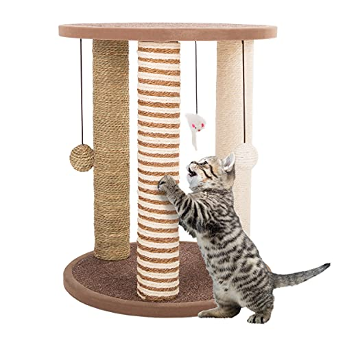 Cat Scratching Post Tower with 3 Scratcher Posts, Carpeted Base Play Area and Perch – Furniture Scratching Deterrent for Indoor Cats by PETMAKER (Tan)