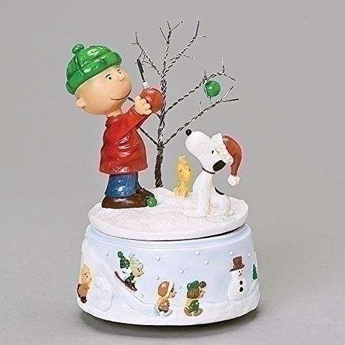 """Roman 6.25"""" Musical Charlie Brown and Friends Peanuts Windup Christmas Figurine"""