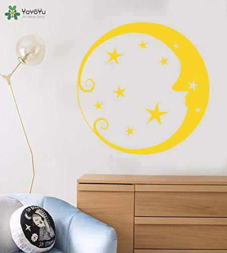 ganlanshu Fototapete Mond Gesicht Stern Muster Wandaufkleber Kinderzimmer Kunst Wandbild abnehmbare Baby Schlafzimmer Innenausbau 63 cm x 63 cm