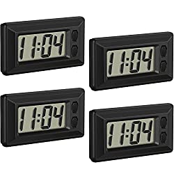 4 Pieces Electronic Clock with Adhesive Pad LCD Digital Car Clock Table Car Dashboard Desk Electronic Clockfor Car Dashboard Home Desk Office