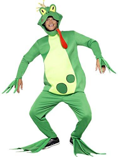 Smiffy's 43389 - Frog Prince Kostüm Top mit festen Händen Handschuhee Hosen Kopfstück und Füße Covers, grün, M