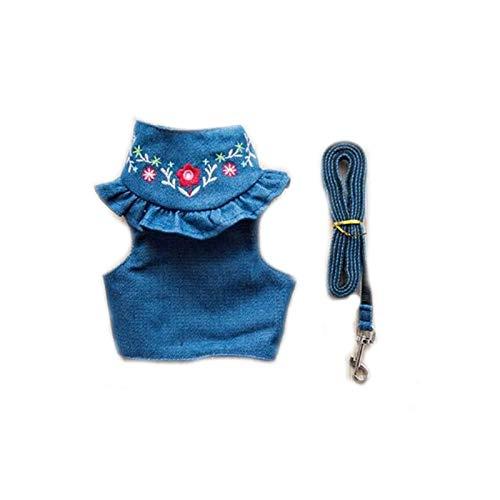 Bella pettorina per cani in denim e guinzaglio ricamati jeans per cani di piccola taglia gilet (colore : blu scuro, taglia: M)