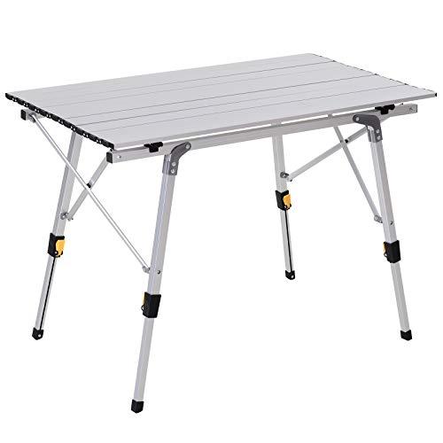 Outsunny Tavolo da Campeggio Pieghevole Multifunzione in Alluminio con Altezza Regolabile Sostiene Fino 30 kg
