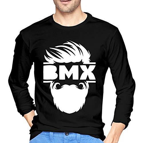WGYWE Barbuda BMX Bike - Camiseta de manga larga para hombre, diseño gráfico informal, color negro
