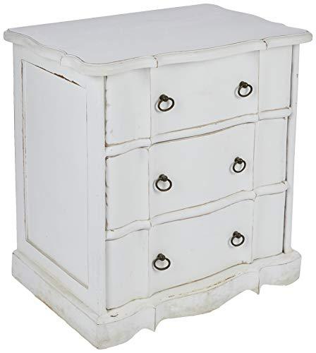 Better & Best 2341142 Cómoda de 3 cajones blanca decapada de madera, color: blanco decapado