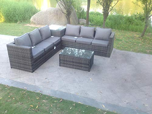 Fimous 6 Seater Grey Rattan Corner Sofa Set 2 Coffee Table Garden Furniture Outdoor
