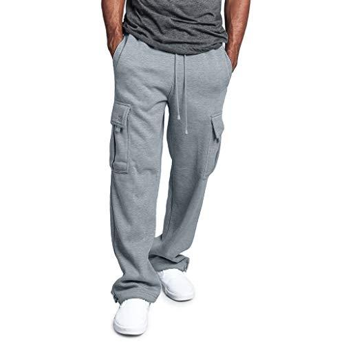 Litetao Men's Solid Fleece Heavyweight Cargo Pants Pocket Splicing Overalls Casual Sport Work Long Sweatpants Hip Hop (L, Gray)
