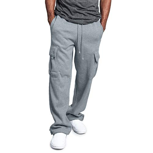 Clearance On Sale Litetao Men's Solid Fleece Heavyweight Cargo Pants Pocket Splicing Overalls Casual Sport Work Long Sweatpants Hip Hop (M, Gray)