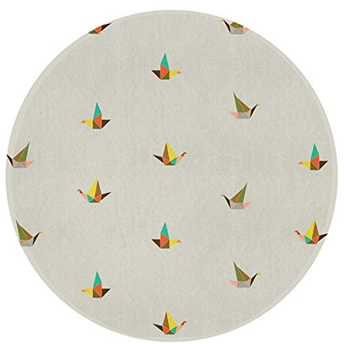 Alfombra circular para baño, alfombrilla redonda para baño, alfombra antideslizante para ducha, alfombrilla absorbente extra suave de franela, alfombrilla para pájaros de papel origami para perros