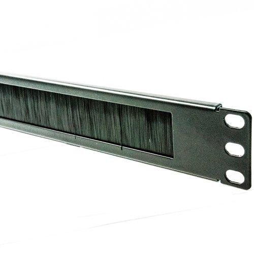 Cepillo Plate/Panel Cable Manejo 1U para 19 Inch Datos Gabinete En Negro [1U]