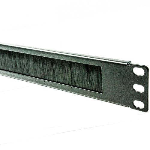 kenable Brush Plate/Panel Cable Management 1U for 19 inch Data Cabinet in Black
