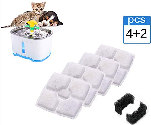 Beacon Pet New Square Filters for Cat Fountain, 4 Pack Activated Carbon Charcoal Replacemen Filter +2 Pack Sponge Set, Suitable for 2.5L Upgrade Pet Fountain Cat Dog Pets Drink Water