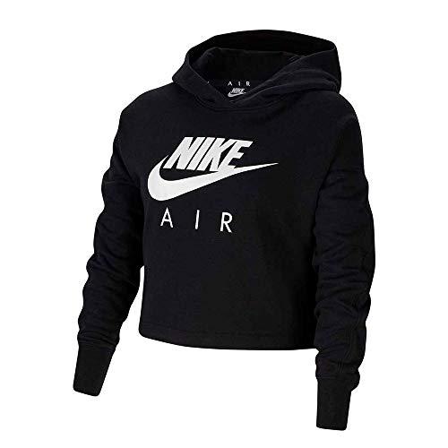Nike Mädchen NSW Air Crop Hoodie Kapuzenpullover, Black/White, L