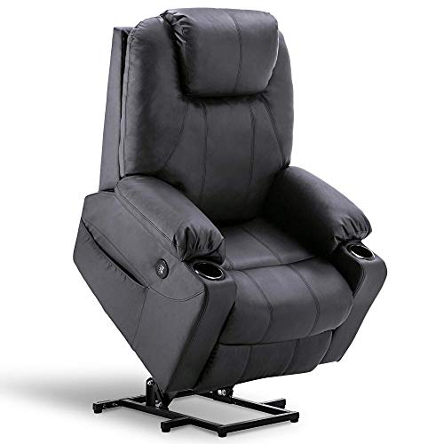 Mcombo Large Power Lift Recliner Chair with Massage and Heat for Elderly Big and Tall People, 3 Positions, 2 Side Pockets and Cup Holders, USB Ports, Faux Leather 7517 (Large, Black)