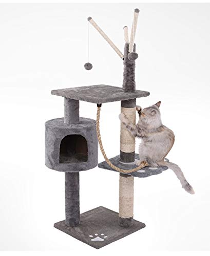 Flashfox Cat Tree Tower for Activity with Condo and Toy Ball (Gray)