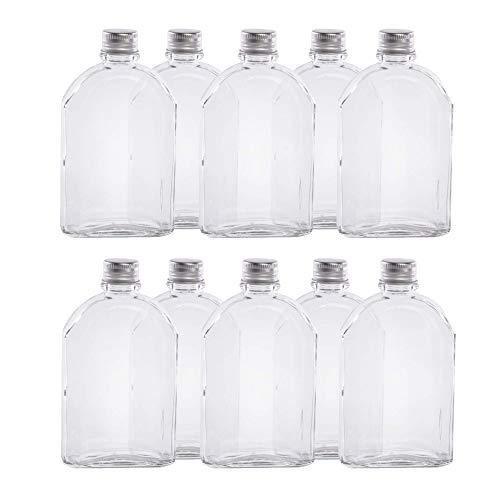 Glass Flask Bottles - Pack of 10 | Bottles for Sloe Gin, Vodka & Homemade Drinks | Alcohol Spirit Bottles With Lids | Wedding Favours | Pukkr (200ml)