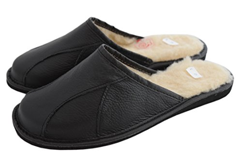 Natleat Slippers Mens Slippers 146 - Zapatillas de estar por casa de Piel para hombre Negro negro