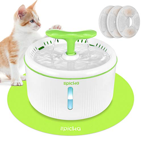 EPICKA Sprout Pet Fountain, 2L/67oz Cat Water Fountain with LED Indicator, Quiet Pump, 3 Triple-Action Filters and 1 Silicone Mat, BPA-Free Automatic Dog Water Dispenser (Green)
