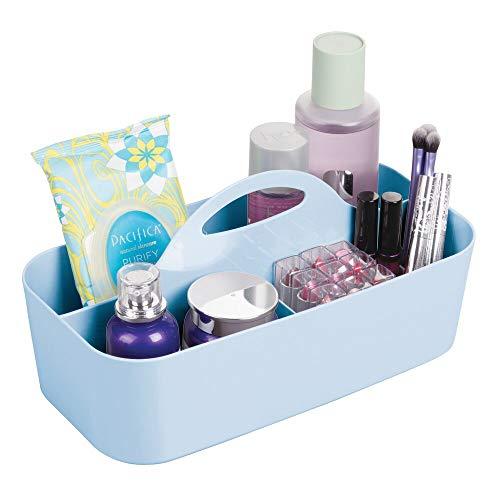 mDesign Cesta de ducha con 6 compartimentos – Caja con asa portátil en plástico para cosméticos – Organizador para baño para guardar brochas de maquillaje, pintaúñas, cuchillas y más – azul claro
