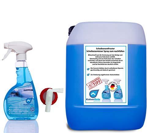 KaiserRein Scheibenentfroster 10 L Kanister Spray 500 ml und Hahn Scheibenenteiser Spray Verkratzen der Scheiben verhindert und damit die Verkehrssicherheit durch blendfreies Fahren deutlich erhöht