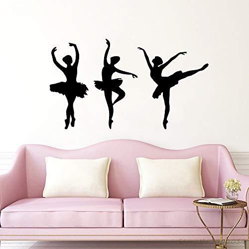 JUEKUI Vinyl Wall Sticker Girls Decor Ballerina Acrobatics Ballet Dancer Gymnastics Wall Decal Poster Art Bedroom Decoration WS52 (Black, 60x32cm)