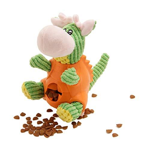 Hundespielzeug, WeyTy Hunde Plüsch Kauspielzeug Dinosaurierform Quietschspielzeug IQ Training Spielen Hundefutter Treat Feeder Zahnreinigung, Plüsch Stoff Spielzeug für Mittel/Groß Hunde